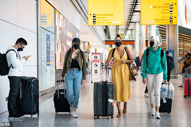 Thousands of Brits across the country may be flouting quarantine rules and not self-isolating after trips abroad. Pictured: Travellers arriving at Heathrow airport on August 22