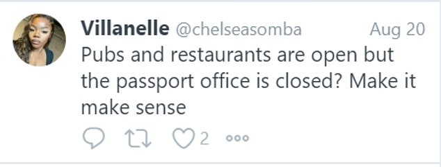 Meanwhile, priorities were questioned by another user from Milton Keynes, who said: 'Pubs and restaurants are open but the passport office is closed? Make it make sense.'