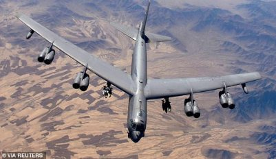 Three B-52H bombers flew into Ukrainian airspace in a show of strength against Putin