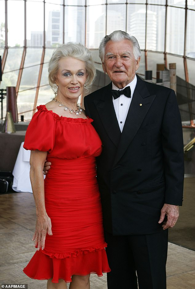 Ms d'Alpuget (left) and Mr Hawke (right)arrive for his 80th birthday party at the Sydney Opera House