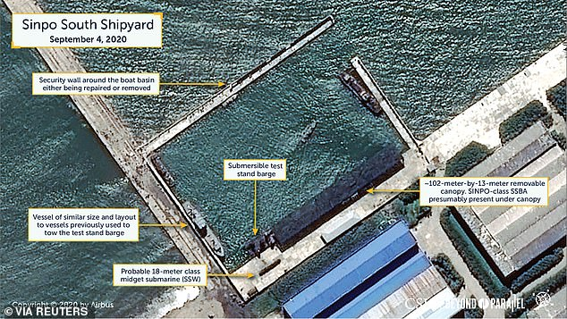 A handout photo shows an overview of the Sinpo South Shipyard in Sinpo, North Korea, taken yesterday