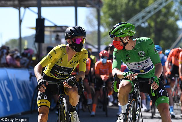Cyclists on the Tour de France have been using face masks to reduce the risk of spreading the virus