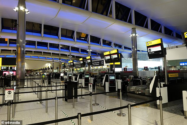 The price of plane tickets for holidaymakers could be cut by the Chancellor under plans to get Britain flying again. An empty looking Heathrow Airport is seen above