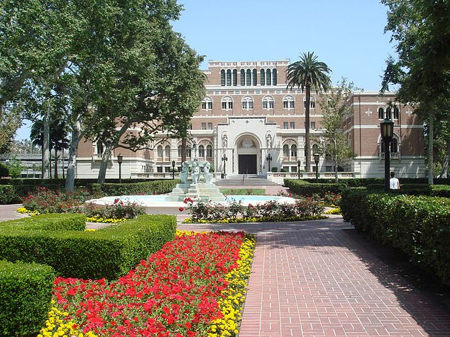 According to the university's website, he is 'an expert in communication' and has received 'numerous teaching awards'. Pictured: The Doheny Memorial Library at the University of Southern California