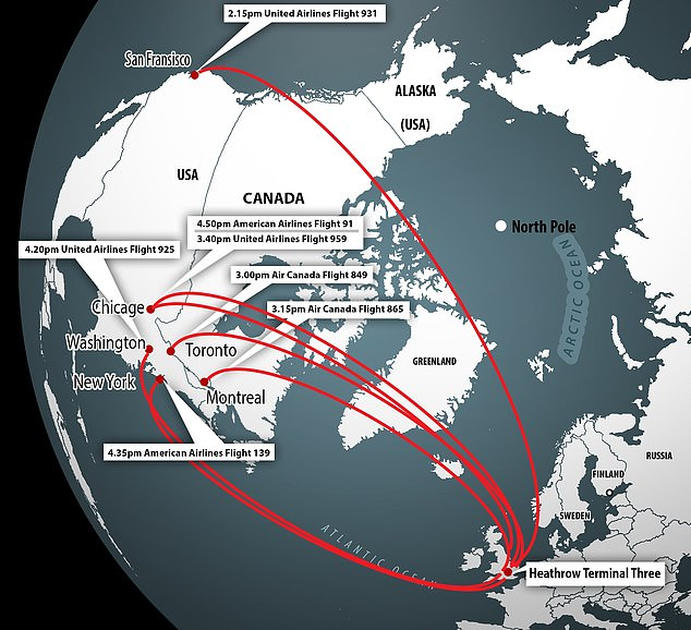 The men plotted to blow up seven planes mid-flight, leaving from Heathrow Terminal Three, in what Theresa May described as'one of the most significant terrorist plots the UK has ever seen'. Pictured: The routes of the planes leaving Heathrow to North America