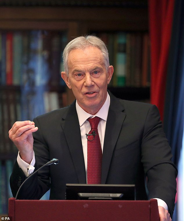 Former prime minister Tony Blair, pictured, has urged the current PM Boris Johnson to concentrate on testing and tracing people infected with Covid-19 to mitigate against the impact of the disease on the UK's economy since March