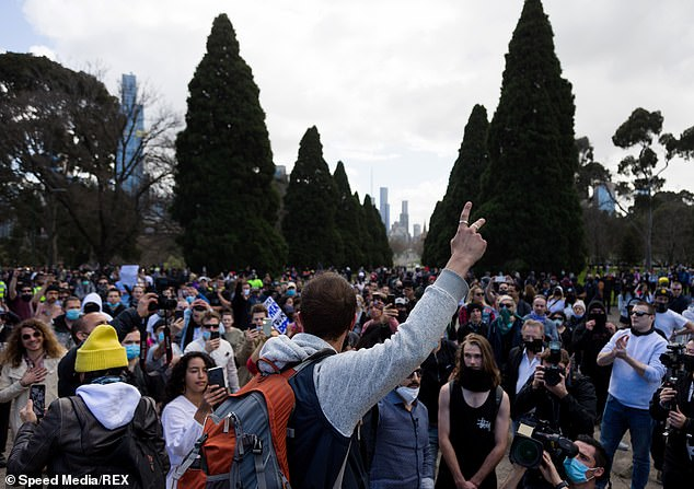 Victorian police charged a protester with assault after an officer suffered cuts to the head during Saturday's demonstration