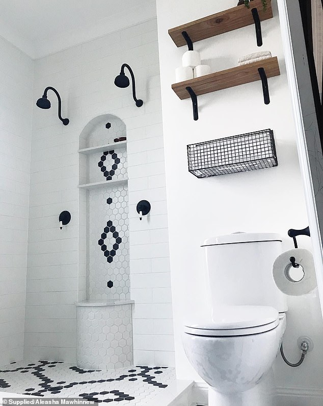 The couple bought their toilet, tapware and hexagon tiles from Bunnings