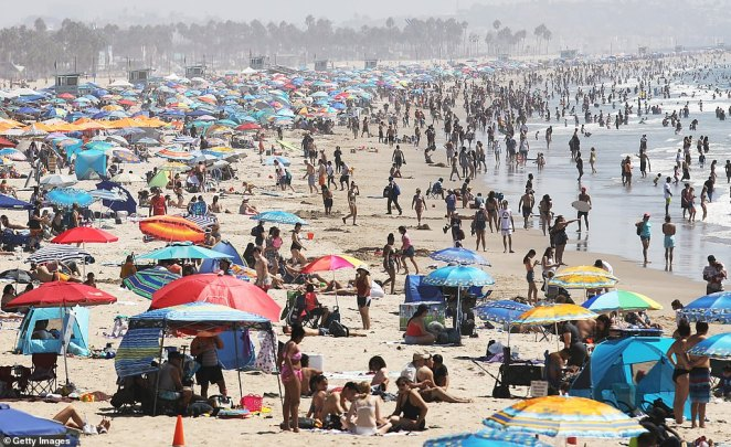 Santa Monica beach in Los Angeles was packed with people on Saturday amid sweltering temperatures