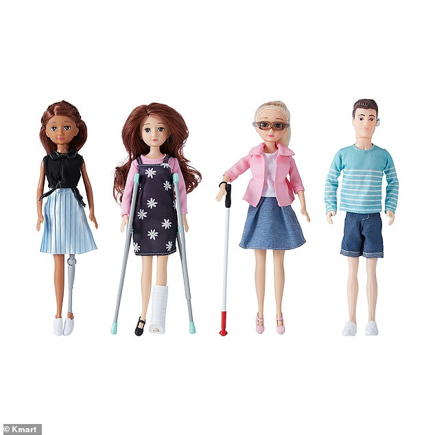 Kmart Australia has released a range of dolls with disabilities, including ones that are blind, deaf, on crutches, in a wheelchair or have a bionic leg
