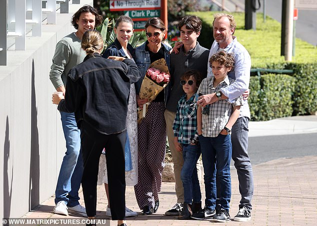 Kids:In tow were daughters, Lucia, 22, Sybella, 13, sons, Hamish, 19, James, 9, Nicholas, 10, Alexander, 8
