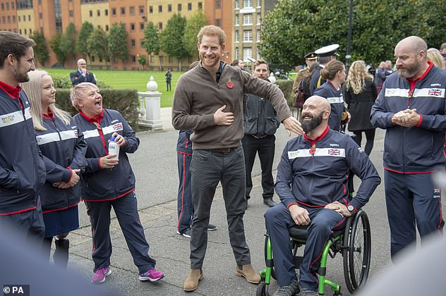 The Duke of Sussex meets team members during the launch of Team UK for the Invictus Games The Hague 2020 at the Honourable Artillery Company in London last October. This year's Invictus Games which was due to be held in April were called off because of the coronavirus pandemic