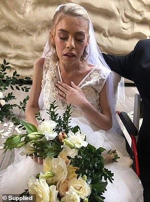 Pictured: Ashleigh Simrajh on her wedding day on Saturday