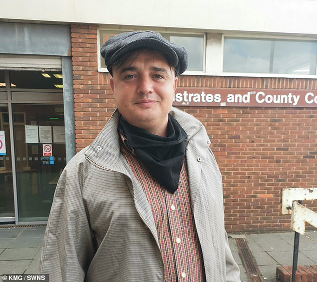 The musician (pictured outside court on Friday) who was already on a driving ban after totting up more than 12 points on his licence last year, says he had no idea he was not allowed to ride the e-scooter while disqualified.