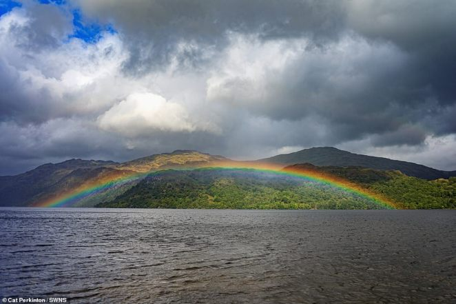 On Saturday a vibrant rainbow beamed across the sky in Lock Lomond in Scotland as most of the country remains sunny and dry