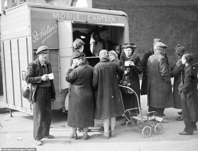 Salvation Army workers provide early morning cups of tea and refreshmentsfrom their Mobile Canteen for people who had lost their homes after one of the worst Nazi attacks yet experienced, pictured on April 17, 1941 in London. The Blitz ended a month later.Throughout the Second World War the Salvation Army's Red Shield club canteens provided relief to civilians and armed forces in the UK and to armed forces abroad