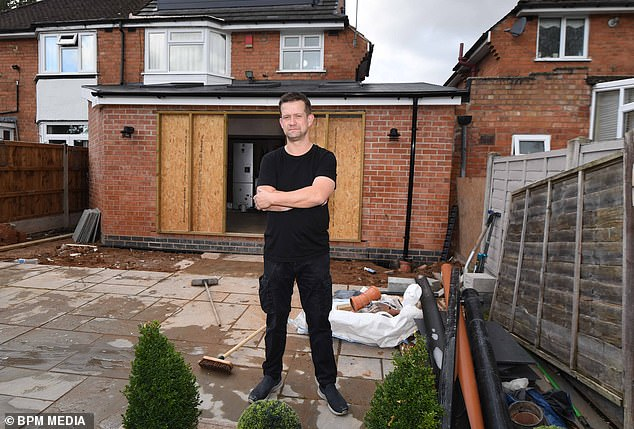 Terry Bodley, 74, was hired by Adam Lewis, 46, (pictured) to carry out the extension at his home in Billesley, Birmingham