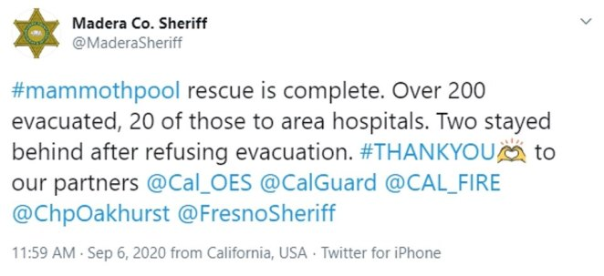 Madera County officials said over 200 people were evacuated and 20 people were sent to hospitals. Two people refused evacuations