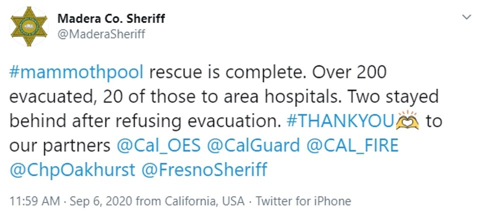 Madera County officials said Sunday over 200 people were evacuated and 20 people were sent to hospitals. Two people refused evacuations