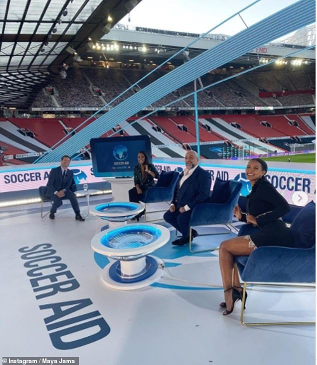 In good company: Football pundit for the night Maya Jama commentated on the match alongside comedianOmid Djalili, footballer Alex and host Dermot