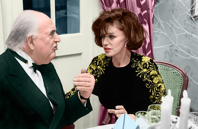 She is pictured above in deep conversation with her friend George Weidenfeld.Weidenfeld, member of the House of Lords, hugely successful, and 21 years older than me, was exceptionally clever, with an extraordinary sense of humour embellished by a wonderful ability to mimic anyone