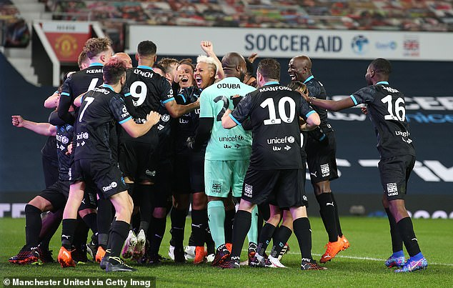 Wahay!Rest of the World triumphed once again in penalty shootout at as comedian Lee Mack missed from the spot for England for a third year in a row