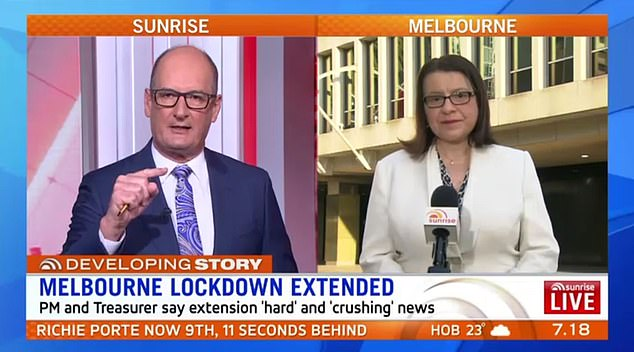 Sunrise host David Koch grilled Jenny Mikakos on Monday morning, labelling Premier Daniel Andrews' roadmap to recovery 'unrealistic and naive'
