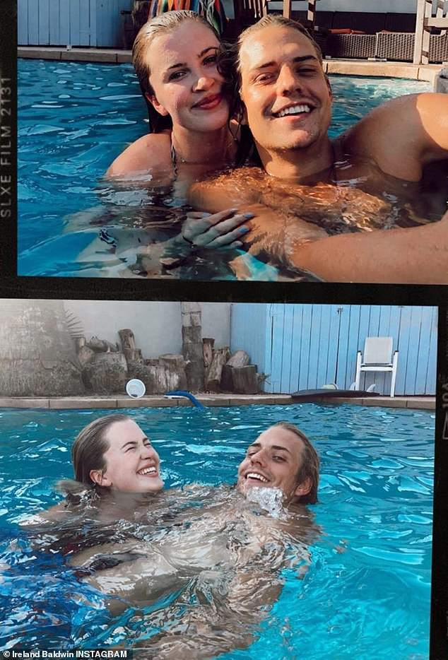 Romantic display: The 24-year-old also shared some sweet snaps to her Instagram Story with boyfriend Corey Harper, 25, as they took a dip in her pool
