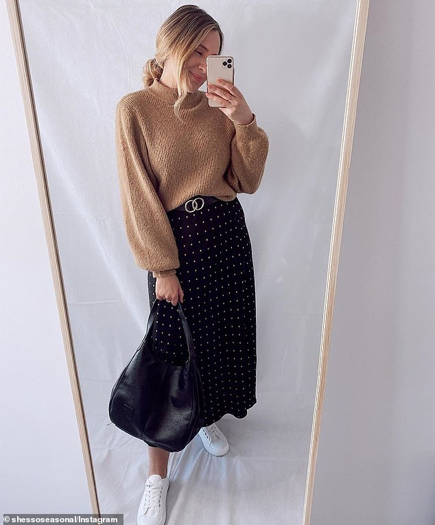 She's So Seasonal wears a knitted jumper tucked into the $18 skirt with tennis shoes - a casual look ideal for an evening stroll