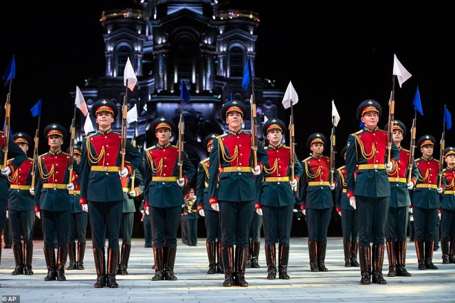 Members of the Russian Honor Guard perform during the festival which was named afterthe main tower on the eastern wall of the Moscow Kremlin which overlooks Red Square