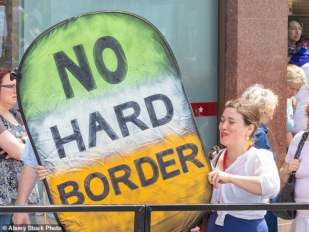 A pro-EU protester holds a large homemade sign about the Brexit Irish border issue during People's Vote march in 2018