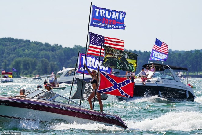The majority of vessels pictured in Great American Boat Parade events were decked out in Trump 2020 flags, controversial Confederate flag and a swarm of American flags