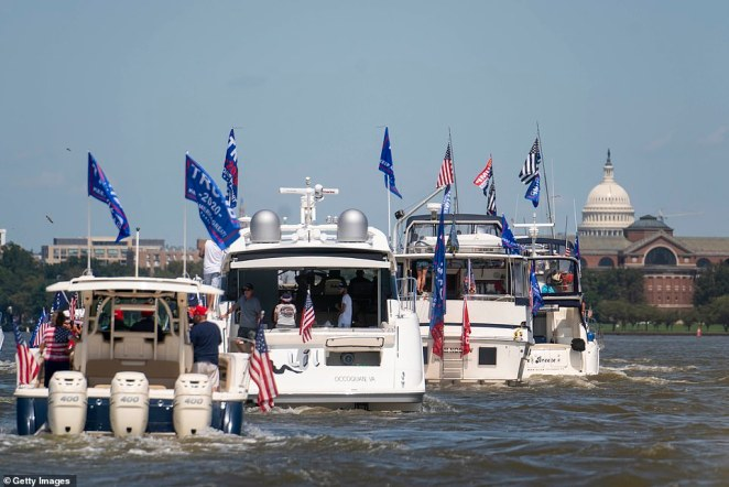 "The U.S. Capitol is seen as supporters of President Donald Trump participate in the ""Nation's Capital Trumptilla Boat Parade"" on Sunday in Washington D.C."