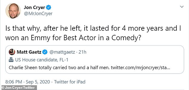 At that, Jon replied: 'Is that why, after he left, it lasted for 4 more years and I won an Emmy for Best Actor in a Comedy?'