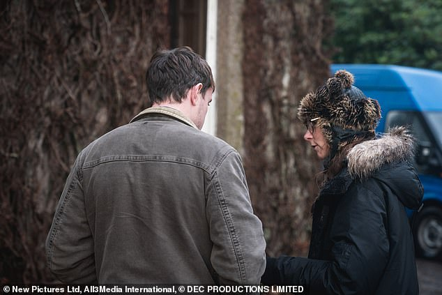 Set: The actor was seen speaking through his lines and the stage with a member of the crew