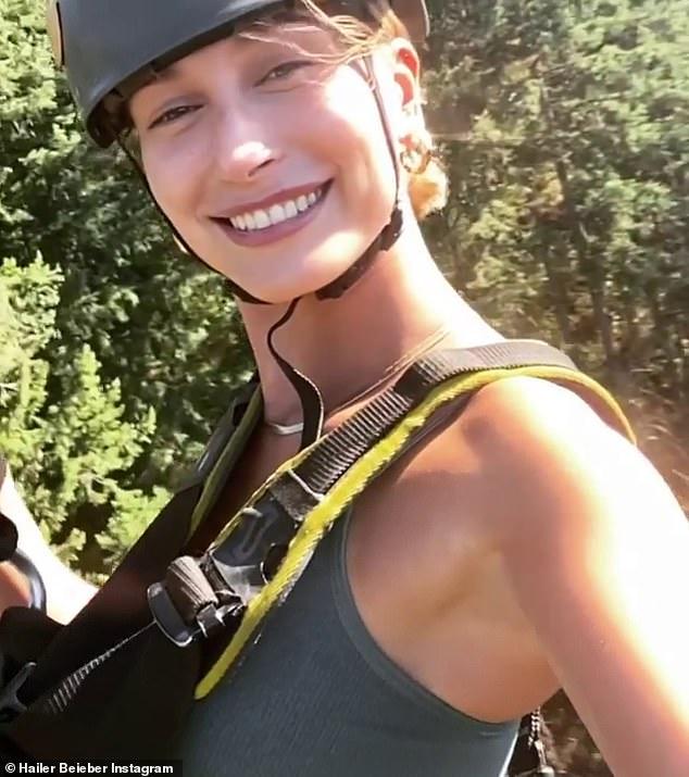 Adventurous side: Hailey shared a brief video of herself enjoying a scenic zipline over breathtaking Idaho terrain