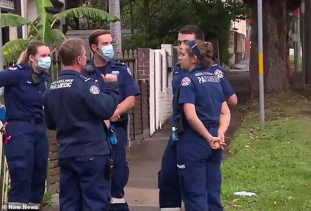 Albert Rick Difloriano, 55, was being treated at the Royal Prince Alfred Hospital after he was shot in the head at a Lewisham home, in Sydney's inner west, on Friday afternoon (pictured, emergency service workers outside of the Lewisham property on Friday)