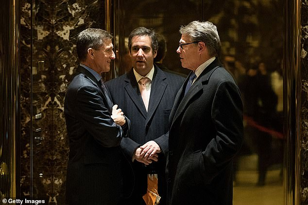 Michael Flynn (left), Michael Cohen (center) and Rick Perry at Trump Tower in December 2016