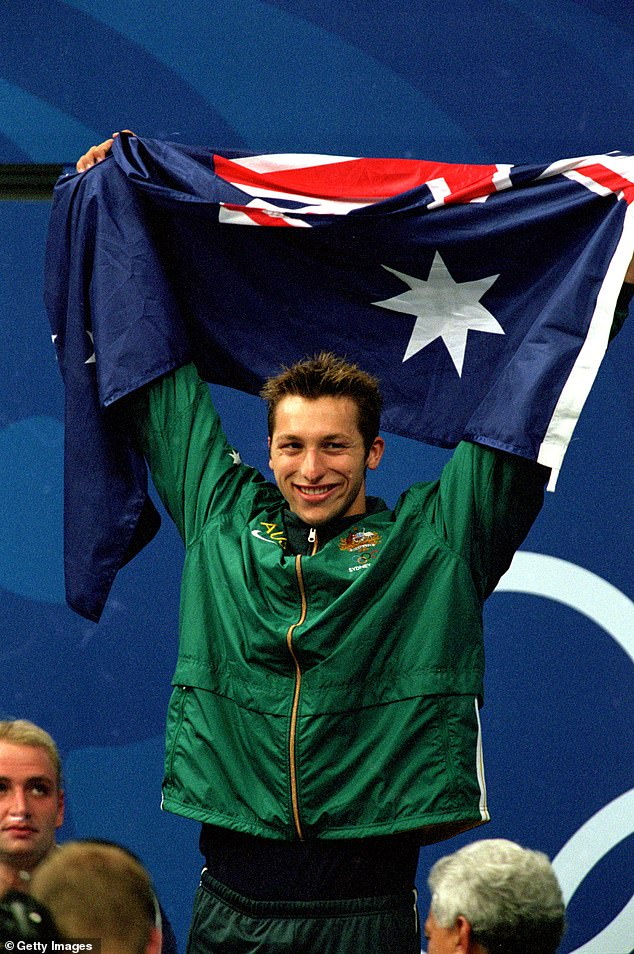 Thorpe won the 400m freestyle and 4 x 100m and 4 x 200m freestyle relays at the 2000 Games and the 200m and 400m freestyle finals at Athens four years later. He is pictured celebrating winning his gold medal in the 400m freestyle at the Sydney Olympics