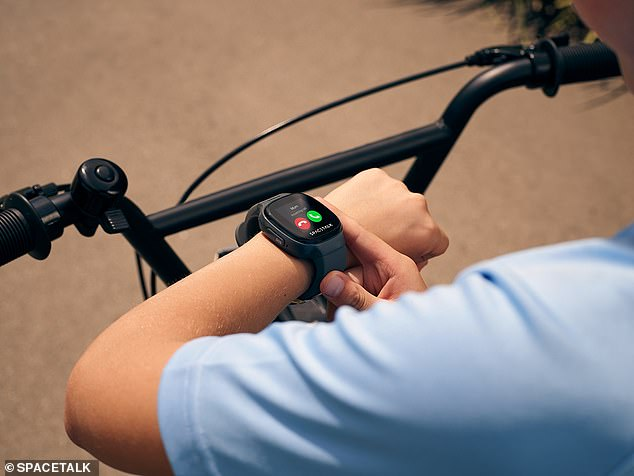 The device is a phone, GPS tracker and security features that allow Samantha to see where he is riding his bike - and so Jack can call if he is in trouble
