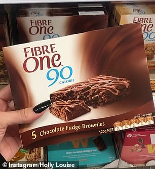 Holly explained she regularly fills her supermarket trolley with Chocolate Fudge Brownies by Fibre One, which have just 90 calories in a single brownie (pictured)