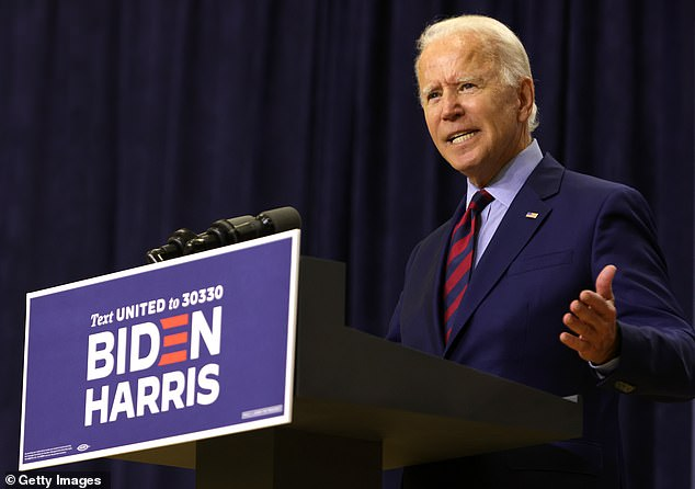 Got her vote: Got her vote: Cardi B has vocalized her support for Democratic presidential candidate Joe Biden over the past few months; Biden pictured on September 4