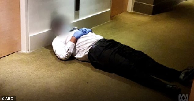 A security guard at a Melbourne quarantine hotel asleep on the job. The Victorian premier blamed the people of Victoria for the spread of coronavirus while hiding what happened there