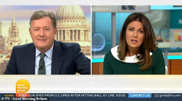 Teasing: Susanna playfully called Piers a 'chubster' on Monday's episode of the show after he revealed he had put on half a stone on in lockdown