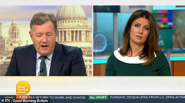 Awkward: While Piers said the insults would help him lose the weight, Susanna said: 'That brings me out in hives just saying that'