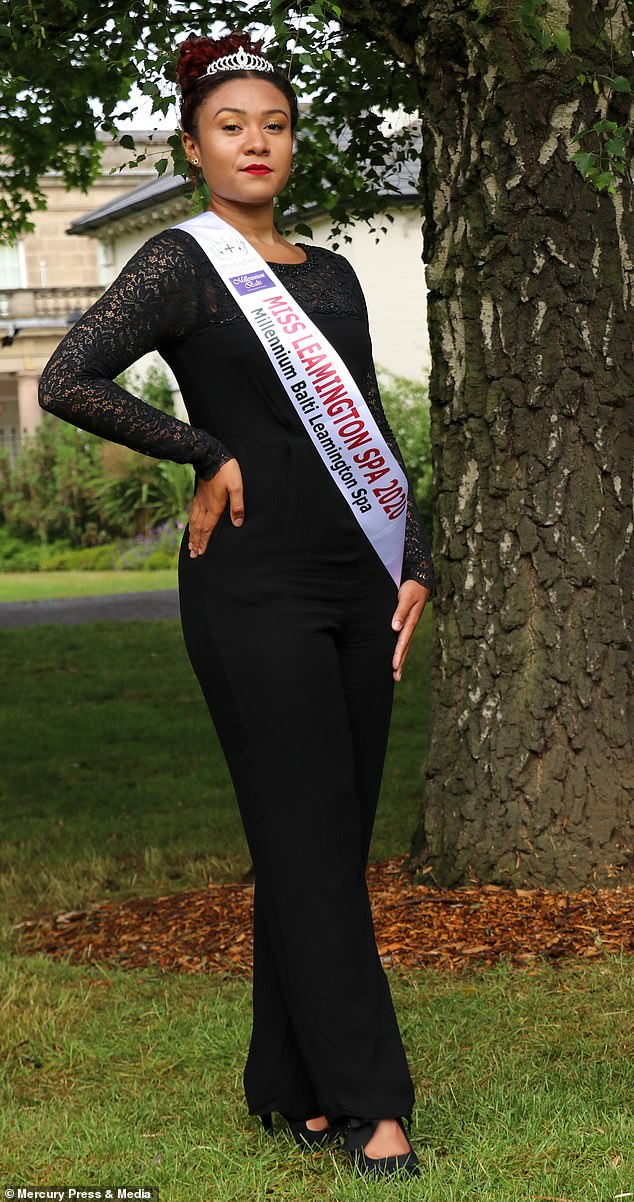 Taylor, pictured standing proud in her Miss Leamington Spa sash and tiara, was forced to move school due to the continuous bullying