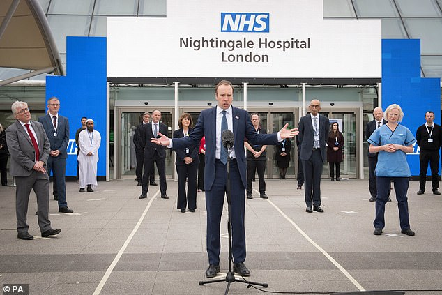Analysis did not include extra capacity from Nightingale hospitals or the private sector due to a lack of data. The hospitals, such as the one above at London's Excel Centre, were mothballed