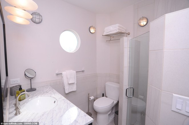 The houseboat is currently listed by Brenda Thompson at specialfinds.com who said the property has been attracting interest from around the globe (second bathroom pictured)