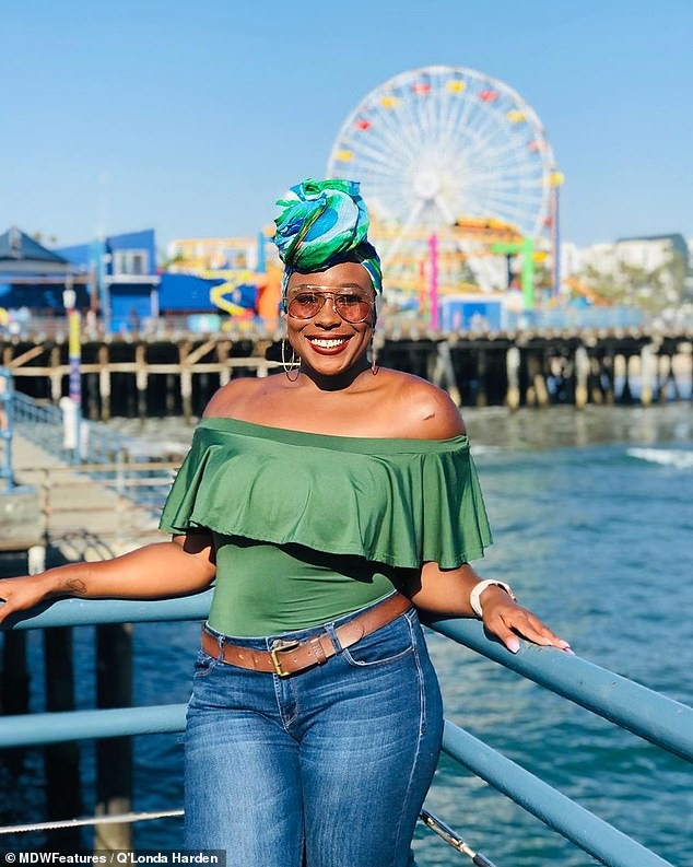 While now in a happy relationship with boyfriend Ashton, 28, Q'Londa - pictured enjoying some free time at the fair - admits that her condition has freaked out previous boyfriend