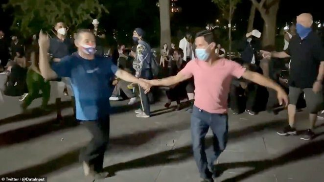 Video from the scene show it wasn't only students gathered in the park, other New Yorkers joined the Labor Day weekend celebrations too, with couples seen ballroom dancing